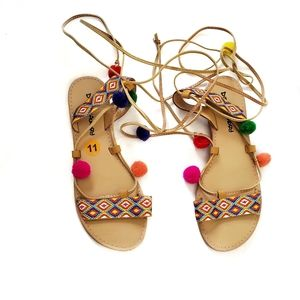 Dirty Laundry   Colorful Pom Strappy Tie Sandals